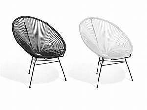 Fauteuil chaise fil acapulco design de jardin ou d for Fauteuil fil noir
