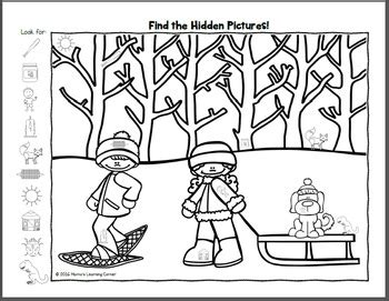find  winter hidden picture worksheets  mamas