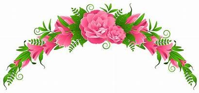Flower Pink Rose Clipart Floral Flowers Border