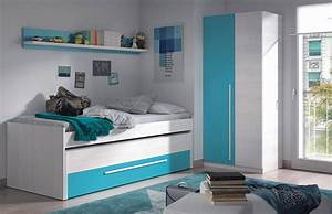 Dormitorio Juvenil En Color Blanco Y Frentes Blanco Y Azules