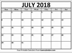 Printable July 2018 Calendar Template Free Printable