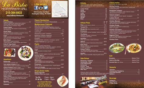 mediterranean cuisine menu menu da bistro restaurant