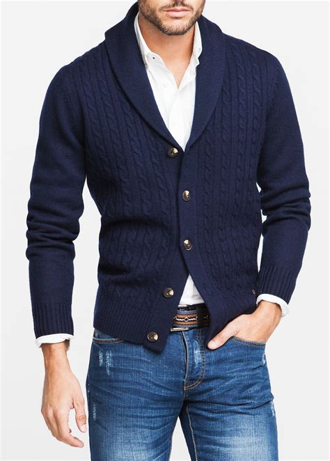 mens cardigan sweaters navy mango cableknit wool cardigan in blue for lyst