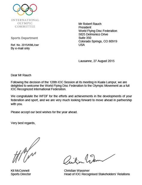 Photo Of The Day: WFDF's Official Letter From The IOC