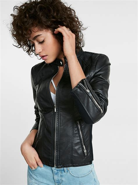 Womens Fashion Slim Fit Design Trendy Leather Jacket