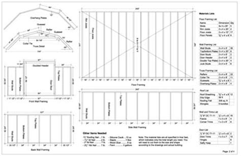 12x20 barn storage shed plans buy it now get it fast ebay