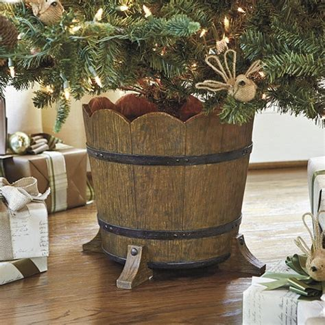 a fun alternative to a traditional tree stand barrel planter christmas tree stand holiday