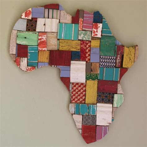 Custom areas, styles & sizes. Wood Block Art - Africa Shape   African crafts, African ...