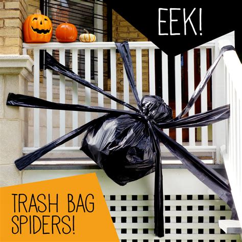 How To Decorate With Spider Web - trash bag spider decoration hefty