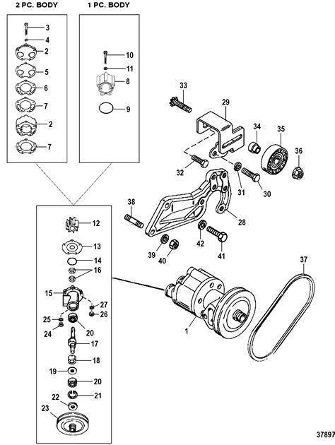 sea water pump  mercruiser  bravo  ii iii engine