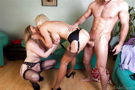mature lady jan burton entertains both cock and cock in ffm threeway