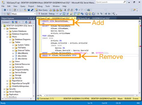 sql query to create table sql server 2016 create a view