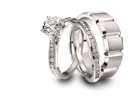 engagement ring and wedding band set for him and her jeff