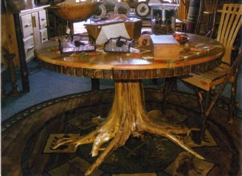 amish rustic hickory dining table 48 quot tree stump