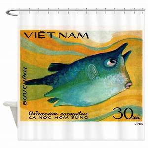 vintage 1984 vietnam cowfish postage stamp shower by With kitchen colors with white cabinets with postage stamp wall art