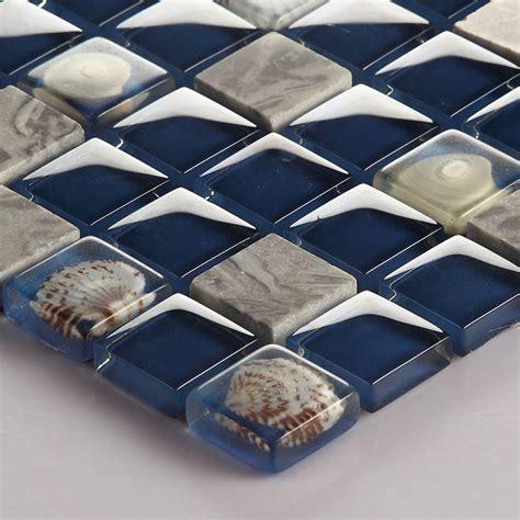 glass tile backsplash kitchen shell tile design crystal