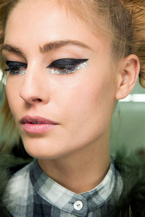 runway beauty glittery eye  chanel spring  couture makeup  life