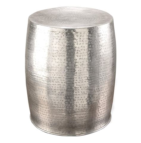 karis antique silver hammered metal garden stool side