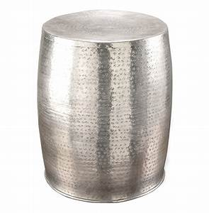 Karis antique silver hammered metal garden stool side table for Silver garden stool