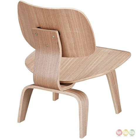 Fathom Contemporary Wood Panel Lounge Chair With Curved