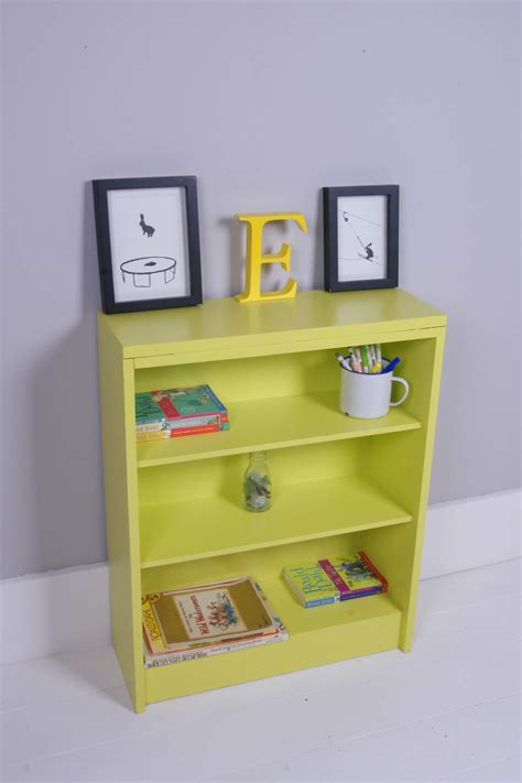 childrens bright yellow wooden bookcase blue ticking