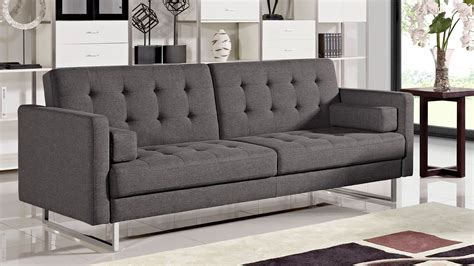 Sofa Chrome Legs Tufted Black Leather Contemporary Style