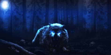 wallpaper white wolf scary night dark forest monster