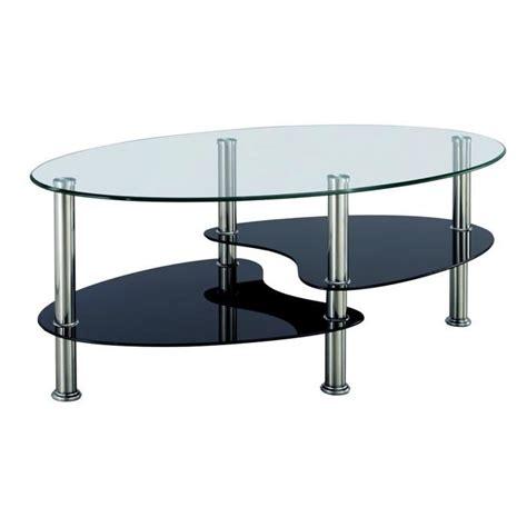 table basse noir et blanc en verre tremp 233 ovale opunake achat vente table basse table basse