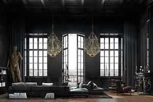 Beautiful, Black, Interior, Showcased, In, A, Historic, Paris, Apartment