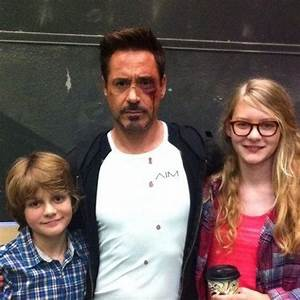 Robert Downey Jr. with castmate Ty Simpkins (Harley) and ...