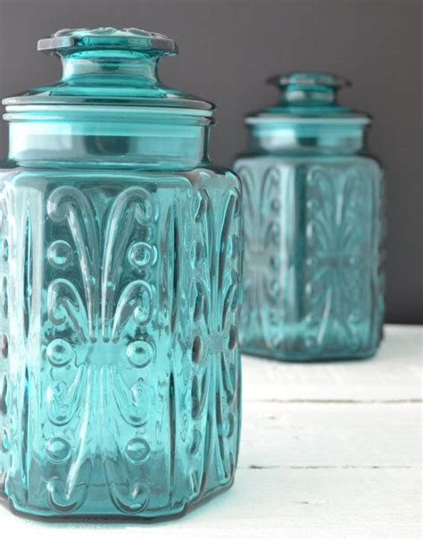 Vintage Kitchen Canisters by Teal Glass Canisters Vintage Kitchen Canisters