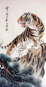 "Tiger Art decor "" Mountain tiger "" tiger hand painting ..."