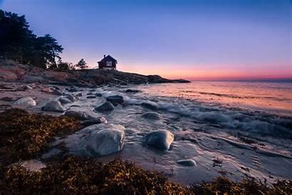 Autumn Ocean Sea Sunrise Seaside Dawn Land