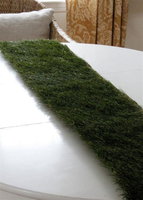 fake grass table runner diy grass tablerunner hgtv