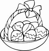 Easter Basket Coloring Pages Egg Printable Drawing Bunny Clipart Crafts Kindergarten Designs Popular April sketch template