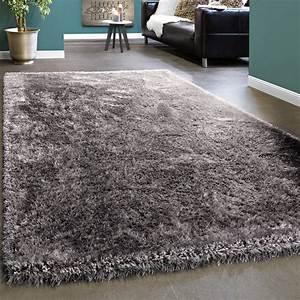 edler teppich shaggy einfarbig grau hochflor teppiche With balkon teppich mit silber tapete glitter