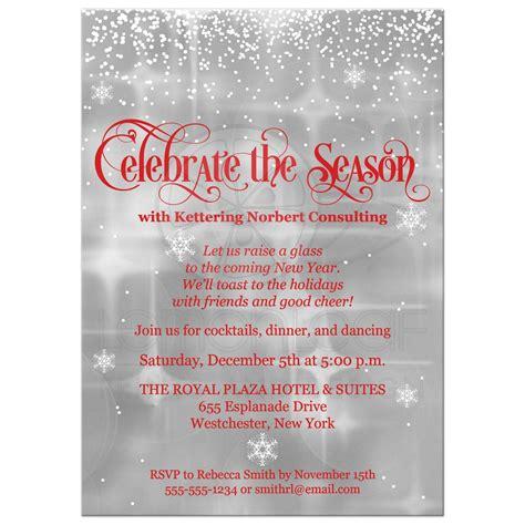 Celebrate the Season Holiday Party Invitation Red Gray