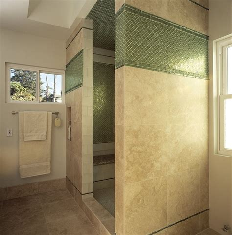 Westside Tile Canoga Park travertine shower with oceanside glass yelp