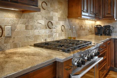 rustic backsplash for kitchen custom height backsplash with horseshoe prints