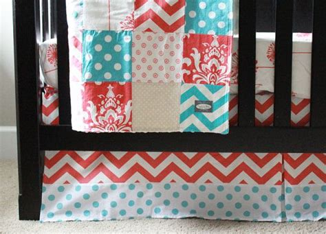 Coral And Aqua Crib Bedding by Custom Crib Bedding Coral Aqua And Baby By