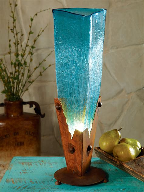 turquoise glass iron lamp