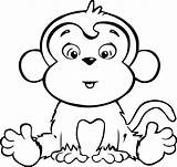Monkey Coloring Pages Printable Monkeys Cartoon sketch template