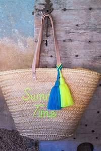 Panier A Pompon : grand pompon panier en laine bleu turquoise artisanat by sous les pav s la plage ~ Teatrodelosmanantiales.com Idées de Décoration