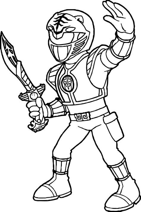 cool power rangers white ranger coloring page