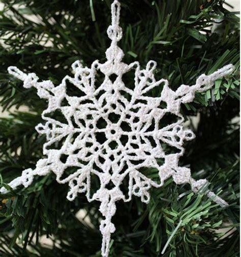 christmas tree snowflake pattern sparkly crochet snowflake ornament allfreechristmascrafts