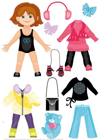set  winter clothes   cute girl paper doll
