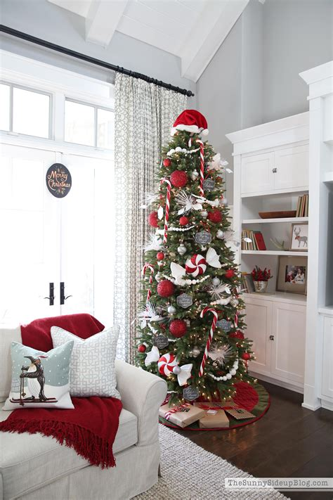 silver christmas tree  red decorations