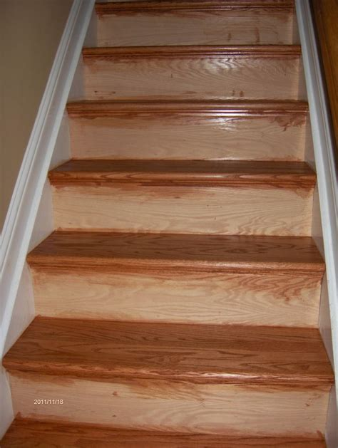 oak step new oak stair treads installed over old pine treads we