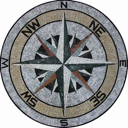 Medallion Mosaic Compass Marble Earth Tones Medallions