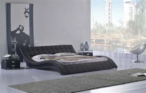 size bed frame with headboard wavy black low profile platform bed